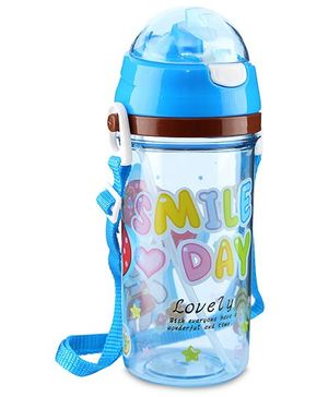 Water Bottle Smile Day Print Blue - 450 ml