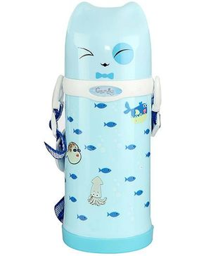 Sipper Water Bottle With Screw Cap Fish Print Sky Blue - 500 ml