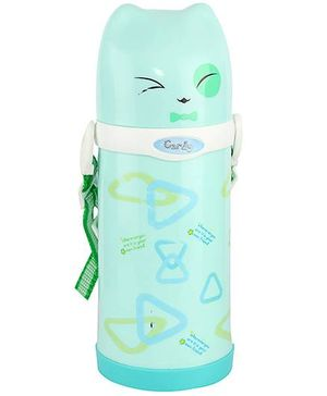 Sipper Water Bottle With Screw Cap Triangle Print Sea Green - 500 ml