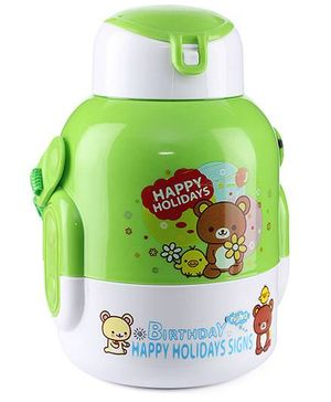 Sipper Water Bottle Teddy Bear Print 480 ml - Green And White
