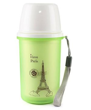Paris Print Sipper Water Bottle Green - 300 ml