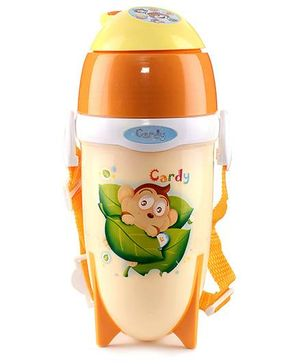 Orange Sipper Bottle Monkey Print - 450 ml
