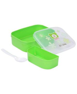 Lunch Box With Spoon Teddy Design - Green