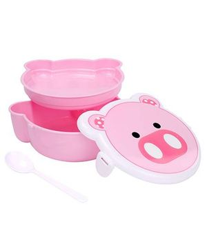 Lunch Box With Spoon Animal Face Design - Pink