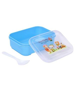 Lunch Box With Spoon Teddy And Floral Print - Blue