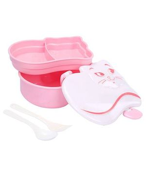 Cat Shaped Lunch Box With Spoon And Fork - Pink And White