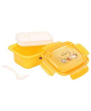 Lunch Box With Spoon Rabbit Print - Orange