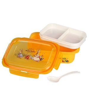 Lunch Box With Spoon Bobby Rabbit Print - Yellow