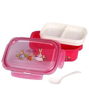 Lunch Box With Spoon Bobby Rabbit Print - Pink