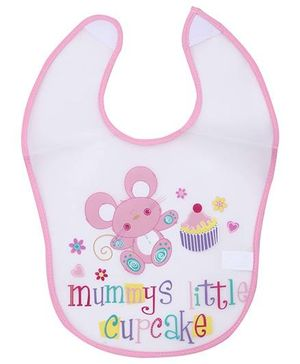 1st Step PVC Plastic Baby Bib Mummys Little Cupcake Print - Light Pink