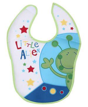 1st Step PVC Plastic Baby Bib Alien Print - Green Border