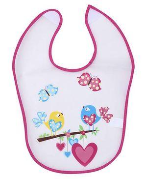1st Step PVC Plastic Baby Bib Love Birds Print - Pink