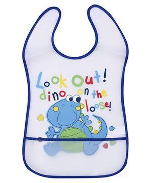 1st Step PVC Plastic Baby Bib Dinosaur Print Large - Royal Blue