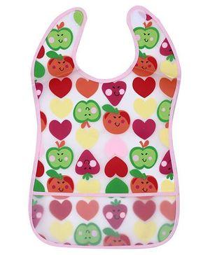 1st Step PVC Plastic Baby Bib Apple And Strawberry Print Large - Light Pink