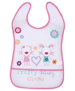 1st Step PVC Plastic Baby Bib Floral Print Large - Pink