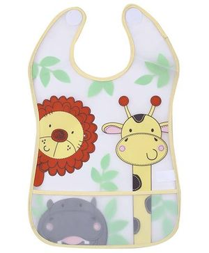 1st Step PVC Plastic Baby Bib Animals Print Large - Yellow