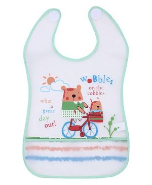 1st Step PVC Plastic Baby Bib Bear Print Large - Green