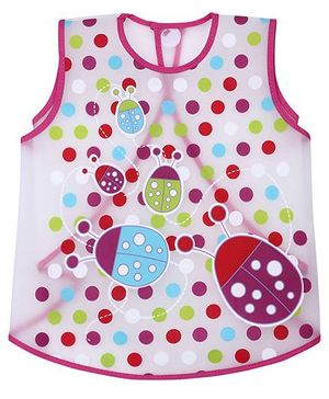 1st Step PVC Plastic Wearable Feeder Bib Dotted Print - Dark Pink