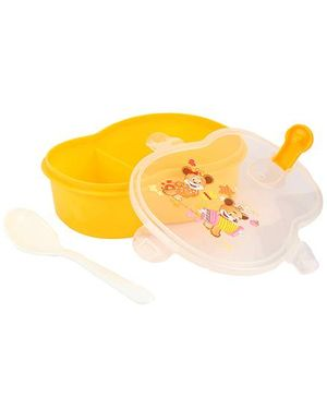 Lunch Box With Spoon Teddy Print - Yellow