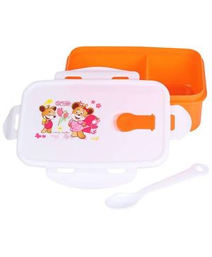 Lunch Box With Spoon Smile And Floral Print - Orange