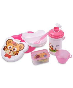 Lunch Box Set Tiger And Football Print - White And Pink