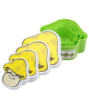 Lunch Box Happy Face Design Set Of 4 - Yellow And Green