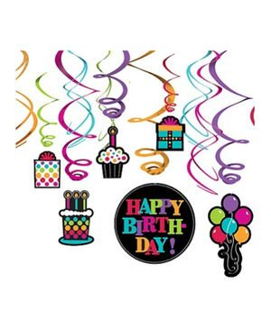 Wanna Party Party On Swirl Decoration - 12 Count