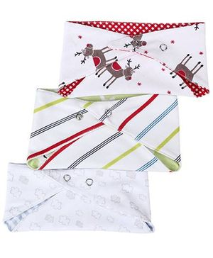 Ben Benny Triangular Shaped Bibs Set Of 3 Printed - White Base