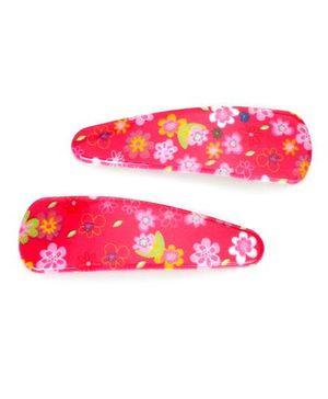 Addon Hair Clips Floral Print - Dark Pink