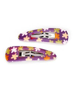 Addon Hair Clips Floral Print - Purple