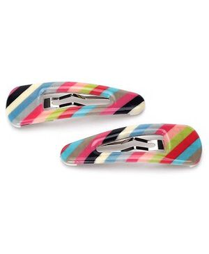 Addon Hair Clips Stripes Print - Multi Color