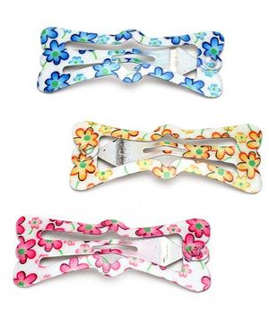 Addon Hair Clips Floral Print Set of 3 - Yellow Blue And Pink