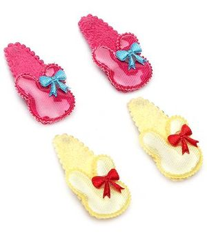 Addon Hair Clips Bow Design 2 Pairs - Yellow And Pink