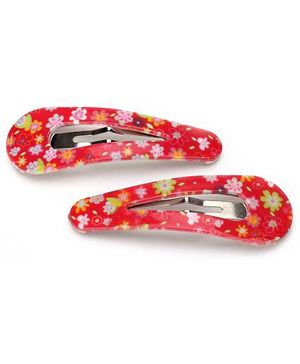 Addon Hair Clips Floral Print - Red