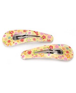 Addon Hair Clips Floral Print - Yellow