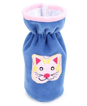 Babyhug Plush Bottle Cover Kitty Face Design Large - Light Blue