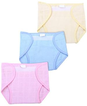 Babyhug Cloth Nappy With Velcro Closure Large Set Of 3 - Pink Blue Yellow