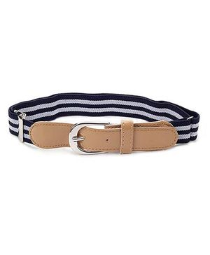 Babyhug Belt Stripes Pattern - White And Navy Blue
