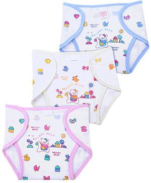Babyhug Printed Cloth Nappy With Velcro Closure Mini Set Of 3 - Pink Cream Blue