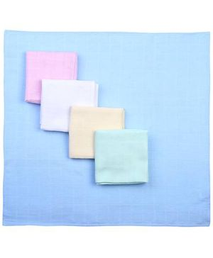 Babyhug Cotton Square Nappy Set Of 5 - Solid Colors