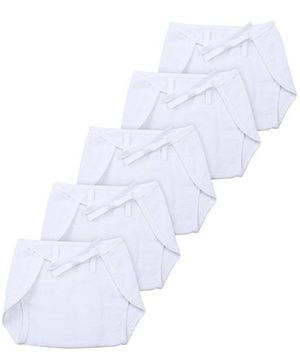 Babyhug Cloth Nappy With String Mini Set Of 5 - White