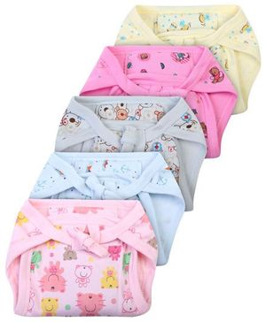 Babyhug Babyhug Cloth Nappy With Insert Assorted Colours Medium - Pack Of 5