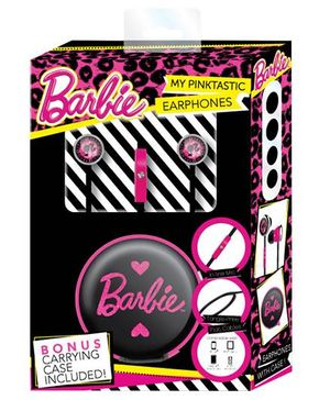 Barbie Handsfree Earphones With Carrying Case - Black And Pink