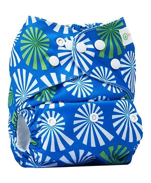 Bumberry Pocket Cloth Diaper with One Microfiber Insert - White Flowers on Blue