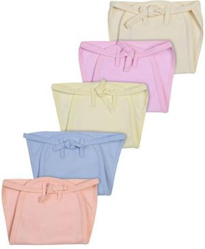 Babyhug Padded Fabric String Tie Up Nappy Large Solid Colors - Pack of 5