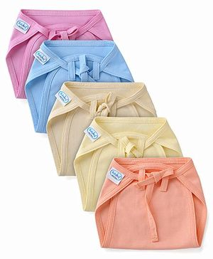 Babyhug Interlock Fabric Nappy With String Tie Up Medium Solid Colors - Pack Of 5