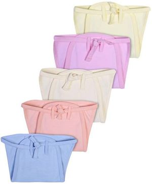Babyhug Interlock Fabric String Tie Up Nappy Small Solid Colors - Pack Of 5