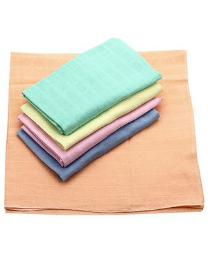 Babyhug Cotton Square Nappy Set Of 5 - Solid Colours
