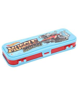 Hot Wheels Double Layer Pencil Box- Multi Colour