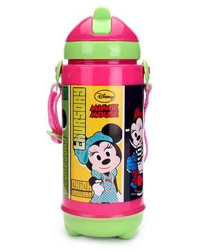 Disney Minnie Mouse Sipper Bottle Green And Pink - 420 ml